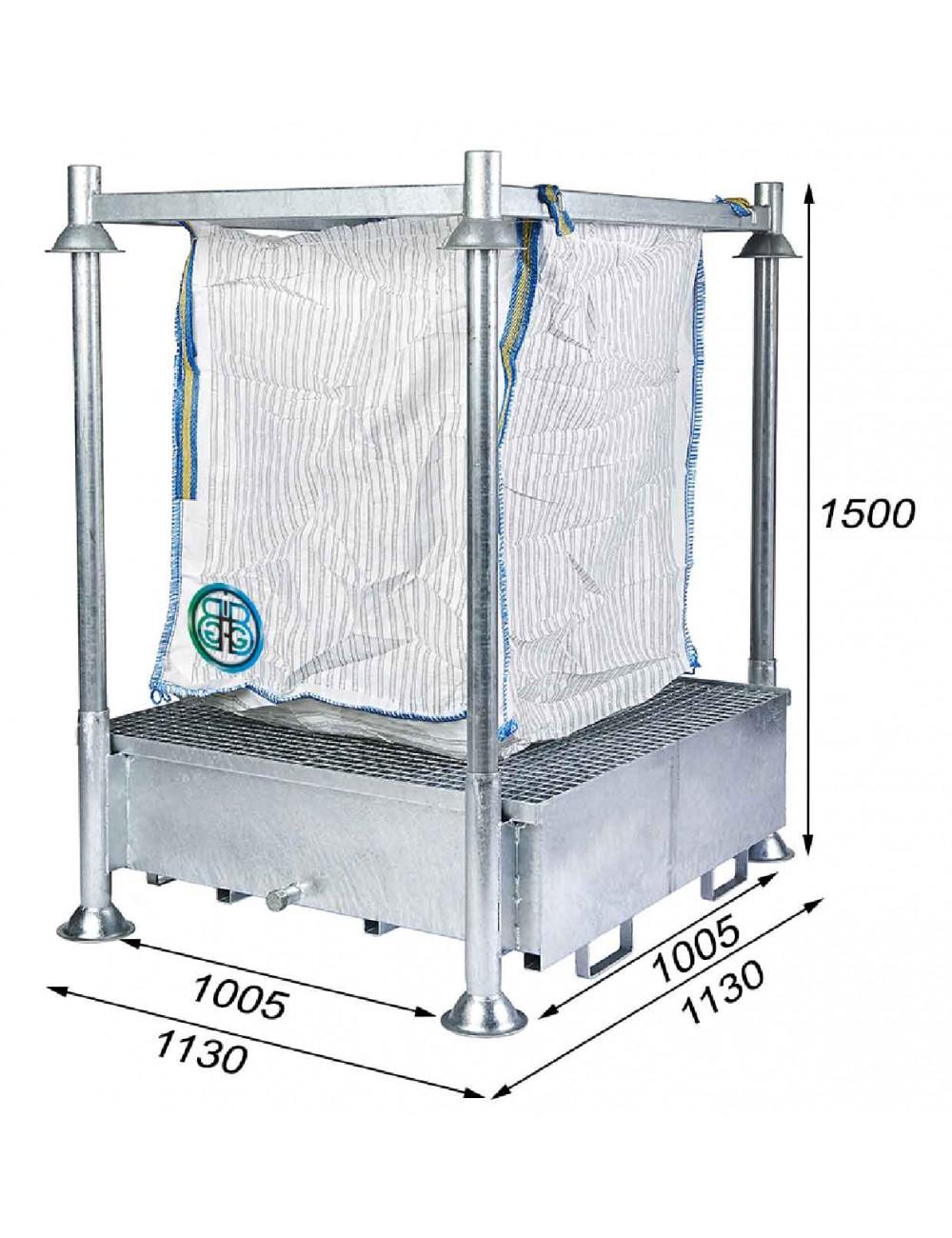 Cadre Support de Big Bag avec Bac collecteur de 440 litres